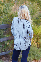 Grey Black Tie Dye Printed Dolman Sleeve Top