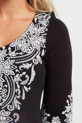 Black Printed 3/4 Sleeve Maternity Tunic
