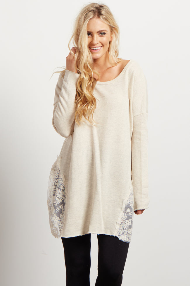 Beige Knit Lace Accent Maternity Top