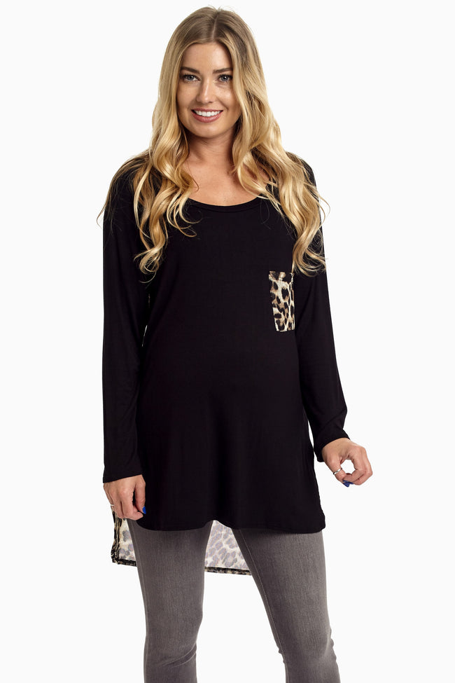 Black Animal Print Chiffon Back Maternity Top