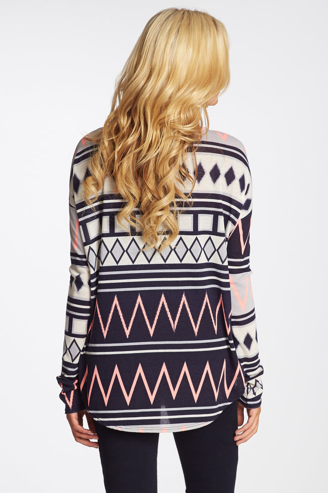 Navy Grey Pink Tribal Striped Maternity Top
