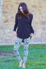 White Black Tribal Printed Leggings