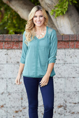 Sage Crochet Accent Bohemian Top