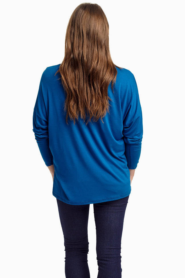 Blue Crochet Pocket Dolman Sleeve Top