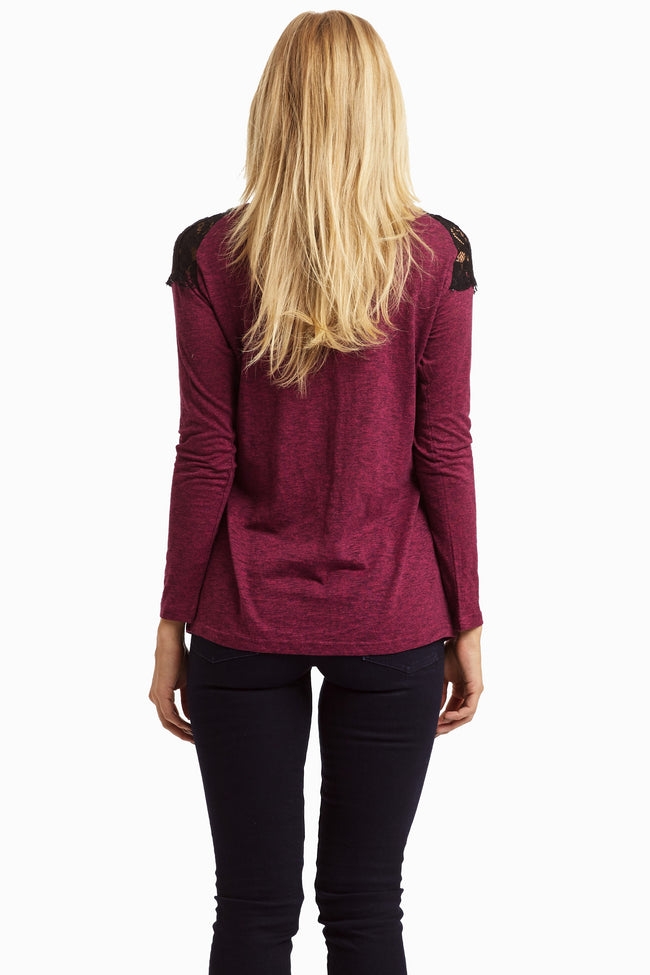 Magenta Heathered Lace Neckline Top
