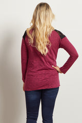 Magenta Heathered Lace Neckline Maternity Top