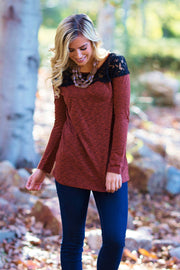 Rust Heathered Lace Neckline Top