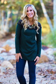 Forest Green Heathered Lace Neckline Top