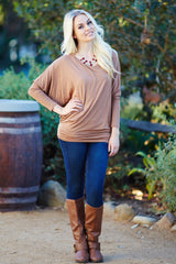 Mocha Basic Dolman Long Sleeve Top