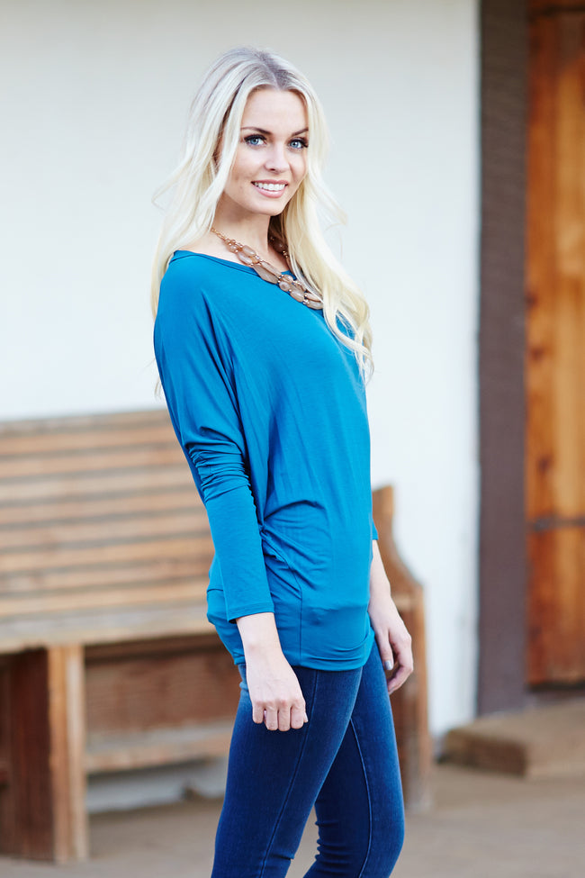Teal Basic Dolman Long Sleeve Top