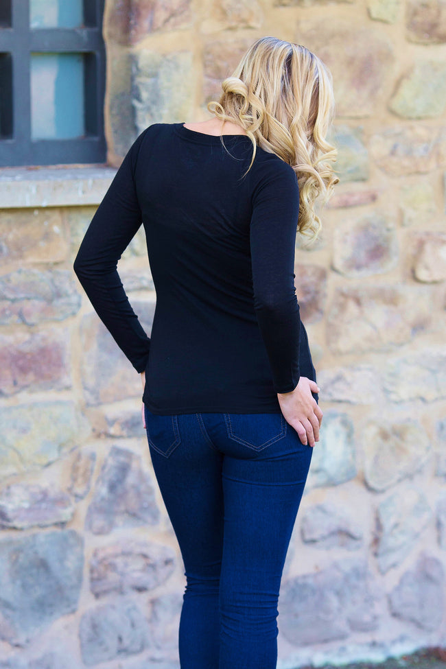 Black Basic Long Sleeve Fitted Top