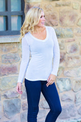 White Basic Long Sleeve Fitted Top