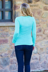 Mint Green Basic Long Sleeve Fitted Top