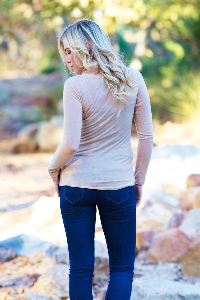 Beige Basic Long Sleeve Fitted Top
