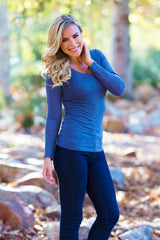 Navy Blue Basic Long Sleeve Fitted Top
