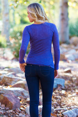 Purple Basic Long Sleeve Fitted Top