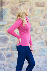 Red Basic Long Sleeve Fitted Top