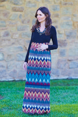 Teal Multi-Colored Art Deco Printed Bottom Maternity Maxi Dress