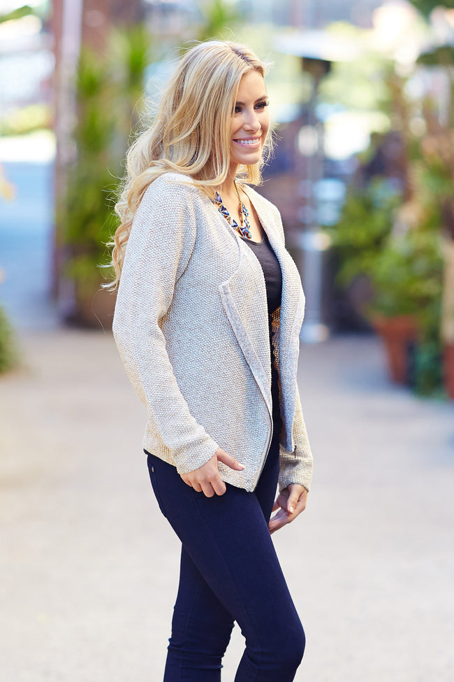Beige Sparkle Knit Zip-Up Jacket
