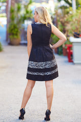 Black Silver Textured Lace Print Dress