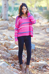 Fuchsia White Blue Striped Open Knit Sweater