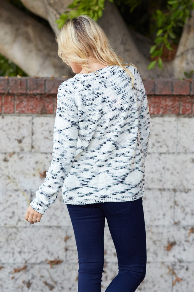 Black White Knit Sweater