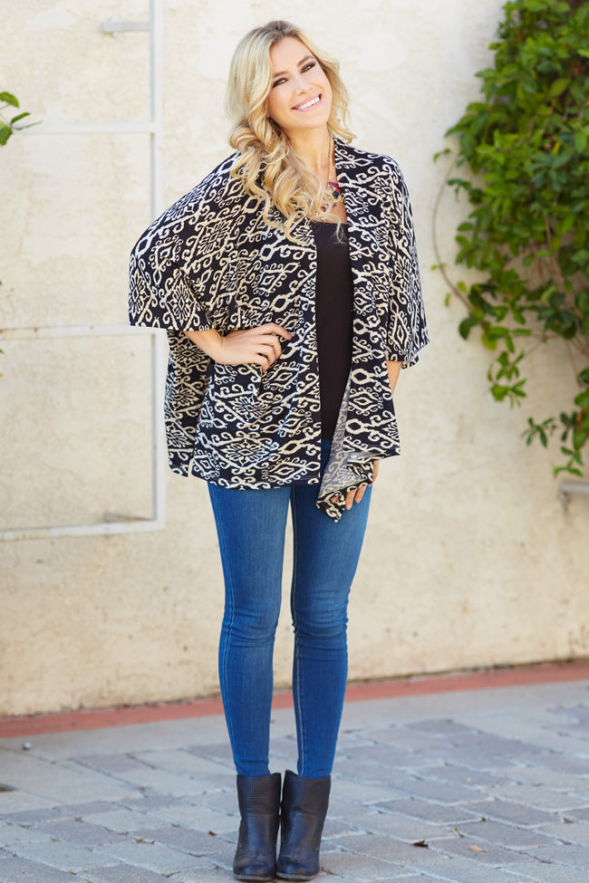 Black Beige Printed Knit Open Cardigan