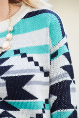 Ivory Black Aqua Aztec Checkered Print Knit Maternity Sweater