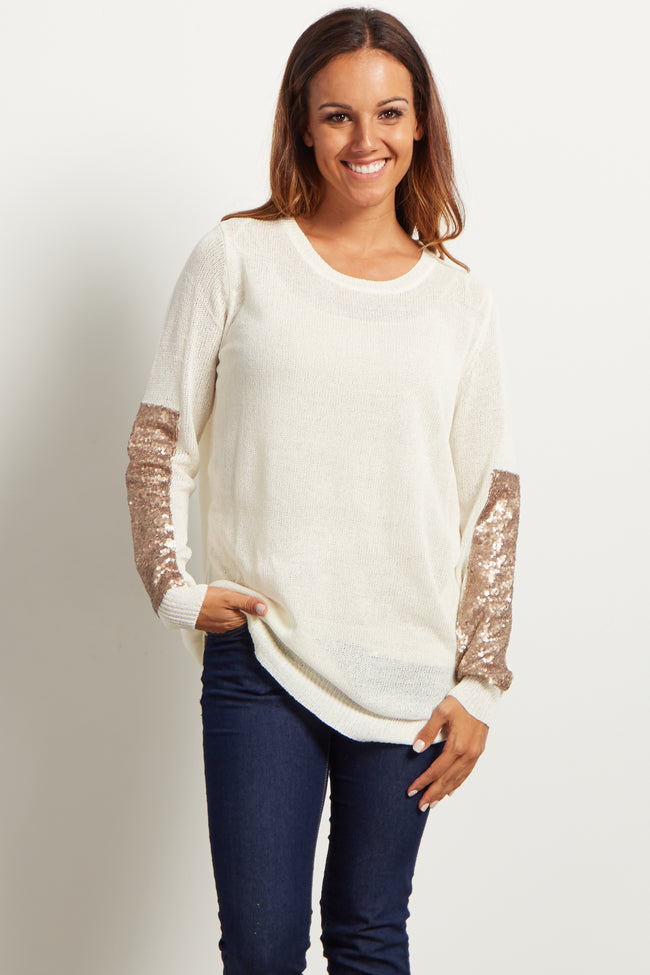 Ivory Sequin Accent Sleeve Knit Maternity Sweater