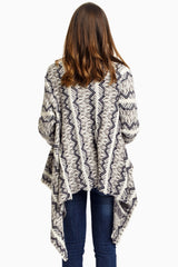 Ivory Navy Grey Printed Knit Open Maternity Cardigan