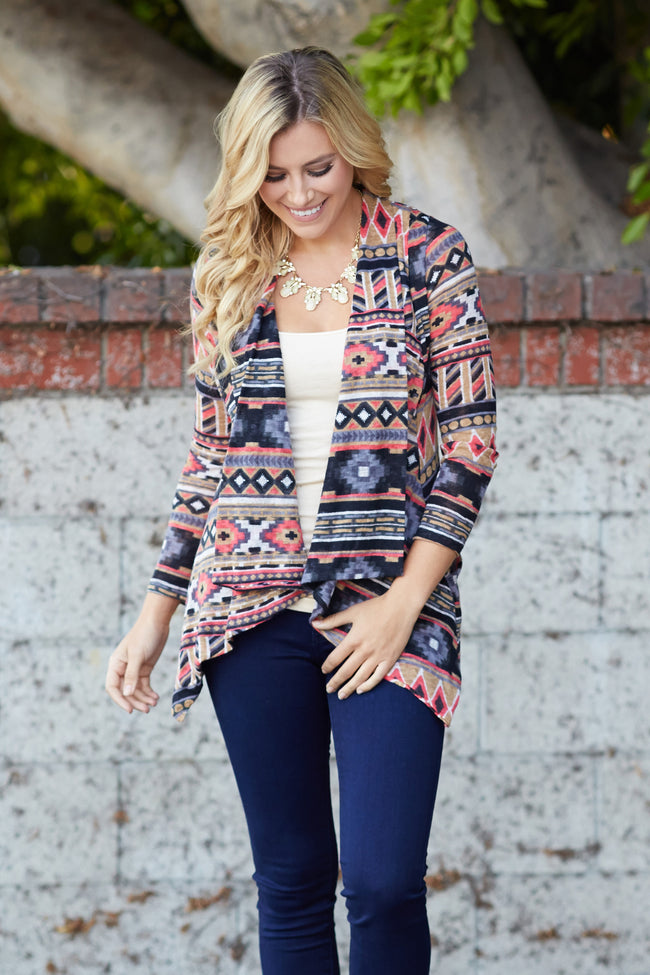 Mocha Multi-Colored Printed Cardigan