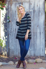 Olive Green Black Striped Button Back 3/4 Sleeve Top