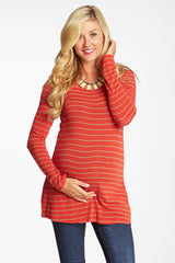Red Taupe Striped Button Back Knit Maternity Top
