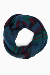 Teal Burgundy Green Printed Knit Infinity Scarf