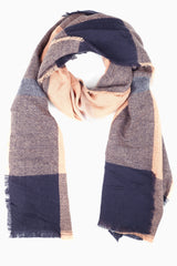 Pink Grey Black Plaid Knit Scarf