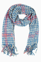 Blue Beige Houndstooth Plaid Printed Knit Scarf