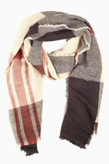 Brown Beige Rust Plaid Knit Scarf