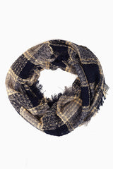 Navy Grey Beige Plaid Printed Knit Scarf