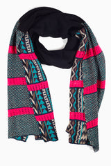 Black Aqua Multi-Colored Printed Colorblock Knit Scarf