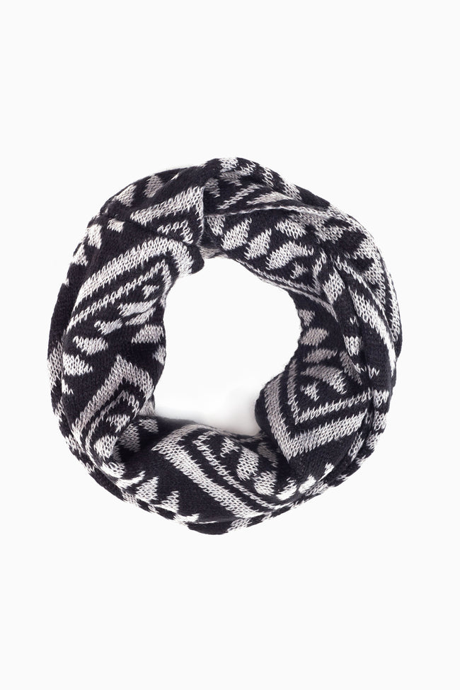 Grey Black Tribal Chevron Printed Knit Infinity Scarf