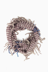 Taupe Ivory Blue Striped Fringe Trim Knit Infinity Scarf