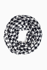 Black White Houndstooth Knit Infinity Scarf