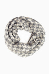 Charcoal Grey Houndstooth Knit Infinity Scarf