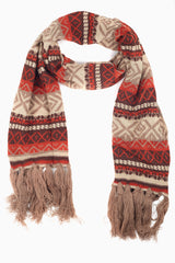 Mocha Multi-Colored Printed Fringe Trim Knit Scarf