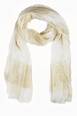 Ivory Gold Wide Striped Scarf