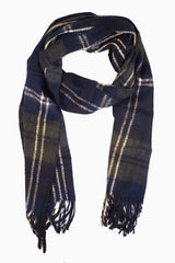 Black Beige Plaid Knit Fringe Trim Scarf