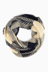 Black Grey Beige Printed Knit Infinity Scarf
