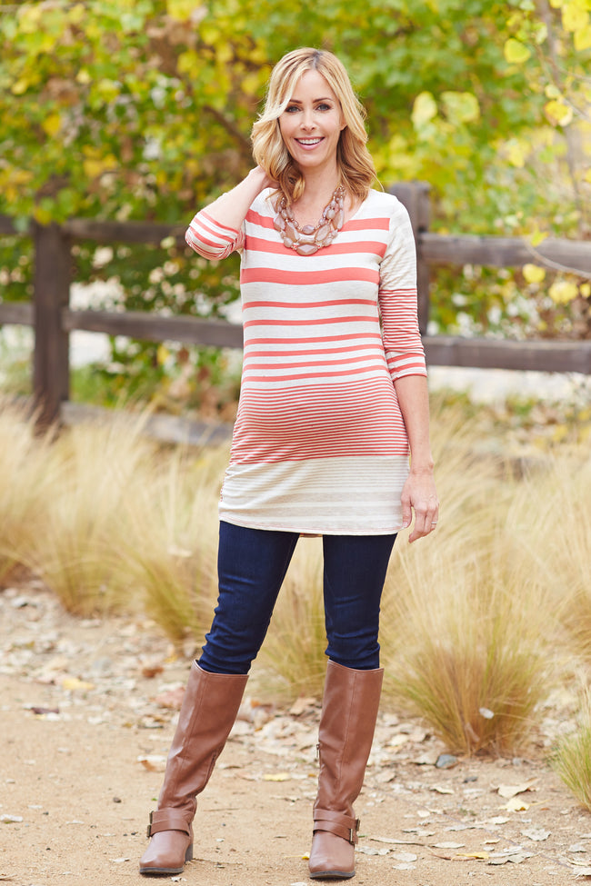 Rust Grey Beige Striped Button Back 3/4 Sleeve Maternity Top