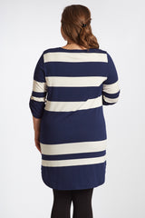 Navy Blue White Striped 3/4 Sleeve Plus Size Maternity Top