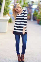 Black White Striped Button Back 3/4 Sleeve Top